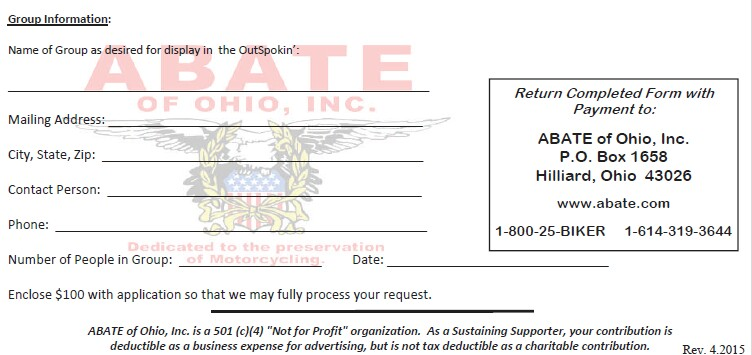 ABATE of Ohio, Inc.- Sustaining Supporters